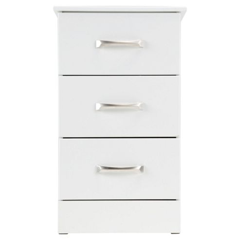 Tenby 3 Drawer Bedside Table, White