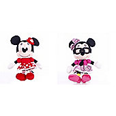"I Love Minnie Minnie Mouse 8"" Plush Doll Bundle Valentine Dress and Geek Outfit- 2 Dolls"