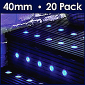 MiniSun Pack of 20 Blue LED 40mm Round Decking Lights Kit