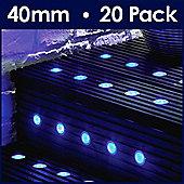 MiniSun Pack of 20 Blue LED 40mm Round Decking Lights Kit