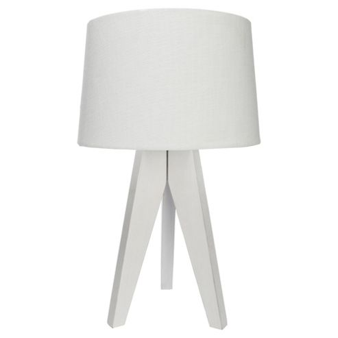 Buy Tesco Tripod Table Lamp White Wood Linen Shade From Our Table Lamps Range Tesco