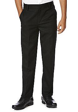 F&F School Boys Slim Fit Flat Front Trousers - Black