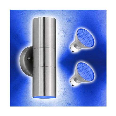 Buy Stainless Steel Up & Down Outdoor Wall Light with Blue LED Bulbs from our Wall & Porch ...