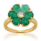Gemondo Gold Plated Sterling Silver 3.30ct Chalcedony & 0.20ct Topaz Flower Ring