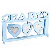 Wooden Baby 3 Aperture Photo Frame - Blue
