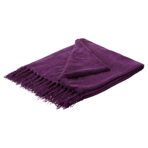 Tesco Chenille Throw- Plum 125X160Cm