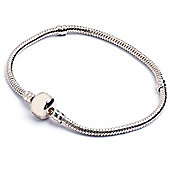 Silver Plated Snake Chain Bracelet for Slide on Beads - 17cm
