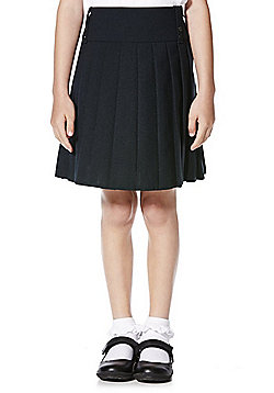 F&F School Girls Permanent Pleat Skirt - Navy blue