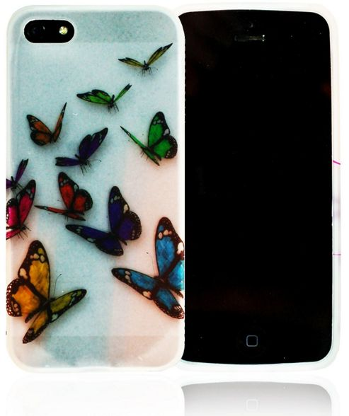 Apple iPhone 5 - gSHELL Tough All-Body Gel Case - Clear W/ butterflys