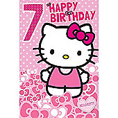 Hello Kitty Age 7 Birthday Card