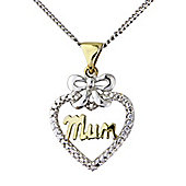 "Sterling Silver and Yellow Rhodium Overlay Cubic Zirconia Set Heart Pendant Message - ""Mum"""