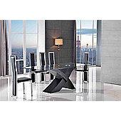 Valencia Glass & Black Oak 200 cm Dining Table & 8 Elsa Black Chairs