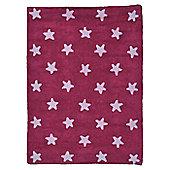 Lorena Canals Fuscia Stars Pink Children's Rug - 120 cm W x 160 cm D (3 ft 11 in x 5 ft 3 in)