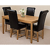 Bevel Solid Oak 150 cm Dining Table with 4 Black Washington Chairs