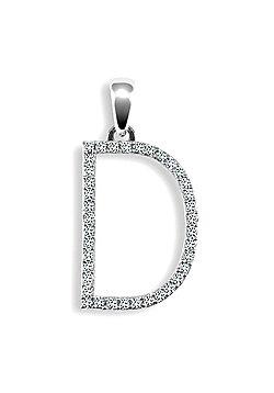 9ct White Gold Diamond Initial Identity Pendant - Letter D