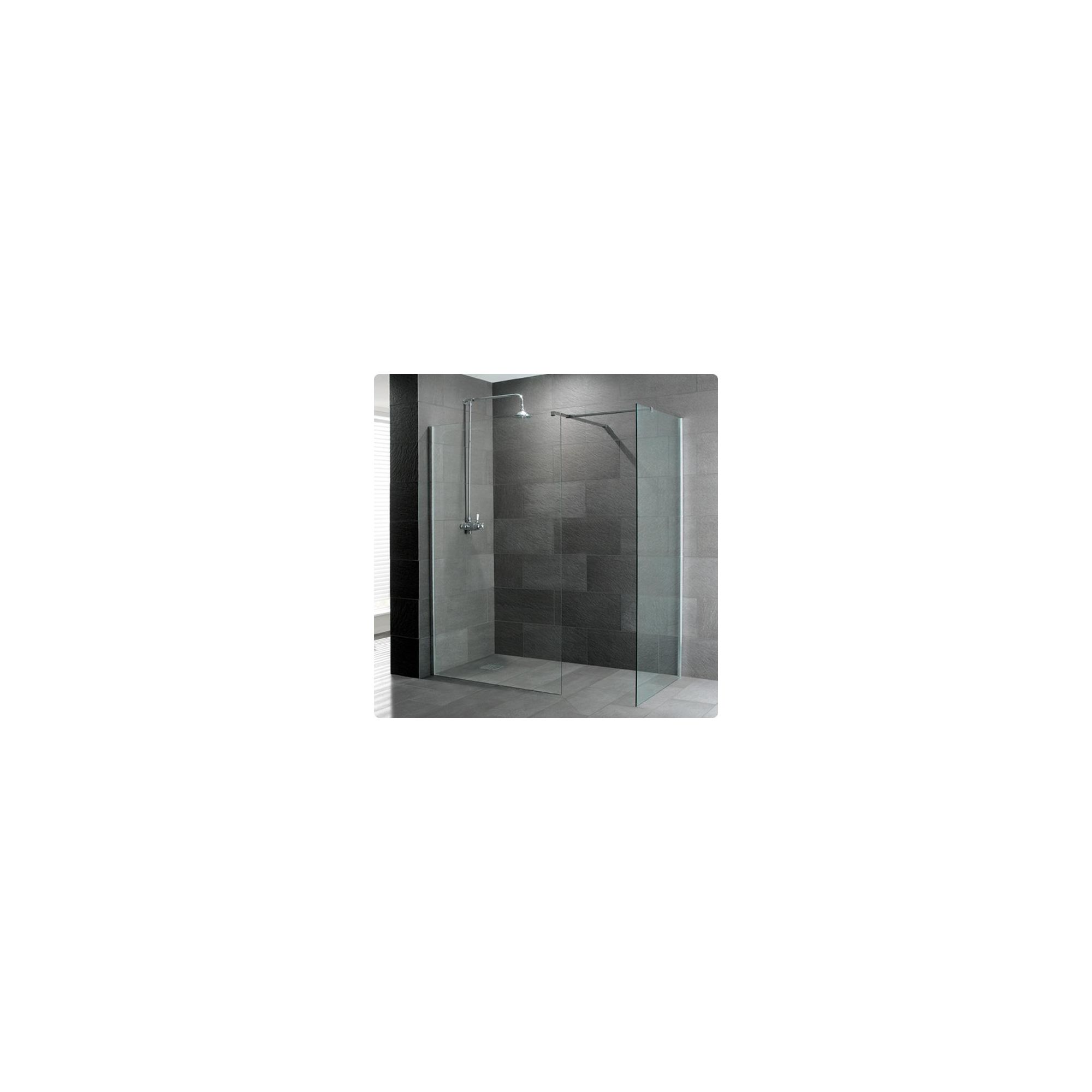 Duchy Supreme Silver Walk-In Shower Enclosure 1700mm x 760mm, Standard Tray, 8mm Glass at Tesco Direct