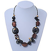 Chunky Wood Bead Cotton Cord Necklace - Brown/ Black - 52cm Length