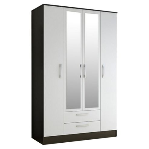 Birlea Lynx 4 Door 2 Drawer Wardrobe with Mirror - Black and White