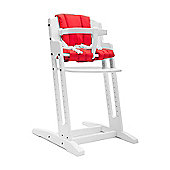 White BabyDan Danchair High Chair & Red Comfort Cushion