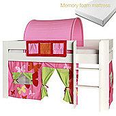 Kids World Midsleeper with Pink Patterned Tent/Pockets/Tunnel/Memory foam mattress