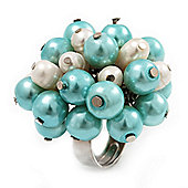 Freshwater Pearl & Bead Cluster Silver Tone Ring (Light Blue & Ivory) - Adjustable