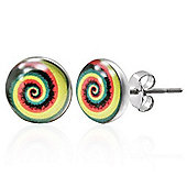 Urban Male Stainless Steel Stud Earrings with Multi Coloured Swirl 7mm