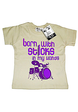 Dirty Fingers Born with Sticks in my hands Baby T-shirt - Cream