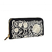 Black and White Embroidered Floral Purse