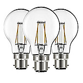 Liteway LW8904 Filament 4w BC B22 GLS Pack of 3 LED Bulbs, 400 Lumen, Warm White, 40w Traditional Replacement [Energy Class A+]