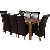 French Chateau Rustic Solid Oak 180 cm Dining Table with 8 Black Montana Leather Chairs