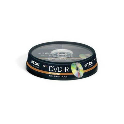 TDK DVD-R 4.7 GB 16x Cakebox 10 Pack