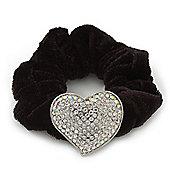 Rhodium Plated Swarovski Crystal Classic 'Heart' Pony Tail Black Hair Scrunchie - AB/ Clear
