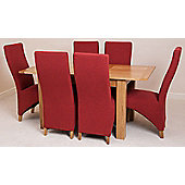 Hampton Solid Oak Extending 120 - 160 cm Dining Table with 6 Red Lola Fabric Chairs