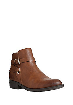 F&F Buckle and Strap Detail Ankle Boots - Brown