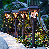 Set of 4 Warm White LED Solar Garden Stake Lights