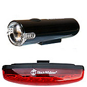 Black Widow Blaze 1W Front and Nightflare Rear Bike Light Set. (Front is Intense 1Watt. Rear has 5 Superbright LEDs)
