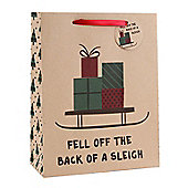 Fell Of The Back Of A Sleigh Christmas Gift Bag - Large