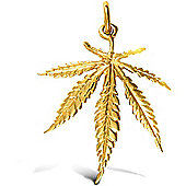 Jewelco London 9ct Solid Gold light weight Cannabis Leaf design Pendant