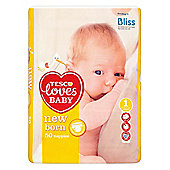TESCO LOVES BABY NEWBORN SIZE 1 NAPPIES - 50 PACK