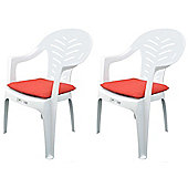 Pack of 2 Garden Chair Cushions - Fits Resol Palma / Cool - Red