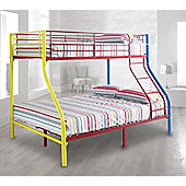 Happy Beds Rainbow Triple Sleeper Bunk Bed Metal Kids 2x Orthopaedic Mattress
