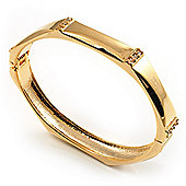 Gold Tone Classic Crystal Hinged Bangle Bracelet
