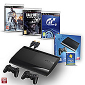 """PS3 500GB (GT6, CALL OF DUTY GHOSTS, BATTLEFIELD 4, PS PLUS 1YR, EXTRA CONTROLLER AND HDMI CABLE)"""