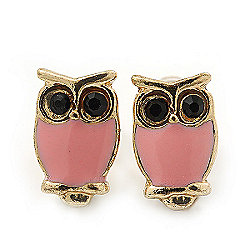 Children's/ Teen's / Kid's Tiny Pink Enamel 'Owl' Stud Earrings In Gold Plating - 10mm Length