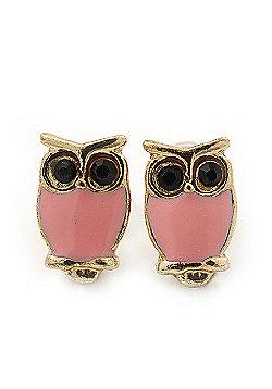 Children's/ Teen's / Kid's Tiny Pink Enamel 'Owl' Stud Earrings In Gold Plating - 10mm Length