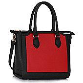KCMODE Womens Black / Red Colour Block Tote Handbag