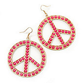 Round Pink Bead 'Peace' Drop Earrings In Gold Plating - 55mm In Diameter