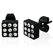 Urban Male Black Square Stainless Steel Stud Earrings with CZ