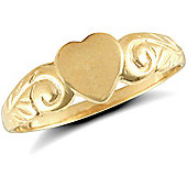 9ct Solid Gold Heart shaped signet Ring with scrolled shoulders