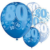 80th 12' Latex Balloons (6pk)